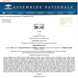 N°2898 - Proposition de loi de M. Bernard Gérard visant à lutter contre le cyber-harcèlement et à protéger les mineurs disposant d'un abonnement à un téléphone mobile connecté à Internet