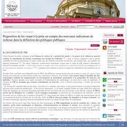 Proposition de loi visant à la prise en compte des nouveaux indicateurs de richesse dans la définition des politiques publiques