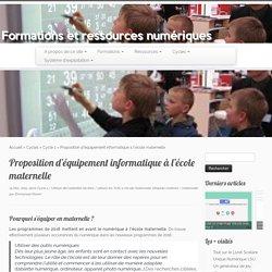 Proposition d'équipement informatique à l'école maternelle