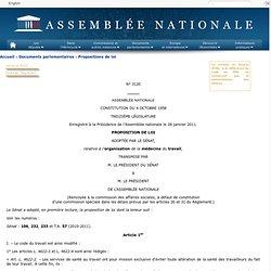 3120 - Proposition de loi, adoptée par le Sénat, relative à l'organisation de la médecine du travail