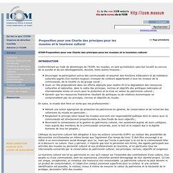 Proposition pour une Charte des principes pour les musées et le tourisme culturel