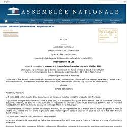 N°1258 - Proposition de loi de M. Lionnel Luca visant à reconnaître le massacre de la population française à Oran le 5 juillet 1962