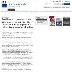Position franco-allemande commune sur la proposition de la Commission pour un mécanisme de relocalisation