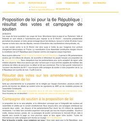 Proposition de loi pour la 6e République : résultat des votes et campagne de soutien