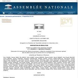 N°2443 - Proposition de résolution de M. Dino Cinieri tendant à la création d'une commission d'enquête sur la situation de l'apiculture française