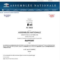 """Rapport sur la proposition de loi """" autorisant la restitution par la France de la dépouille mortelle de Saartjie Baartman, dite 'Vénus hottentote"""""""", à l'Afrique du Sud"""""""