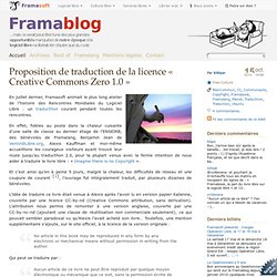 Proposition de traduction de la licence « Creative Commons Zero 1.0 »