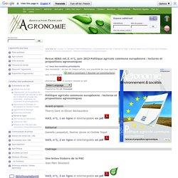 Revue AE&S vol.3, n°1, juin 2013 Politique agricole commune européenne : lectures et propositions agronomiques