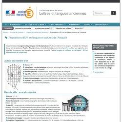 Propositions d'EPI en langues et cultures de l'Antiquité