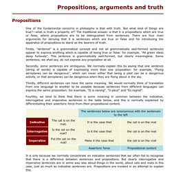 Propositions, arguments and truth