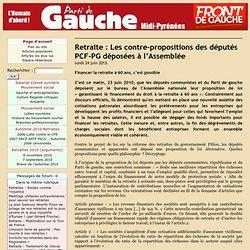 Retraite : Les contre-propositions des députés PCF-PG déposées à l'Assemblée