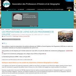 Les propositions de l'APHG sur les programmes de collège