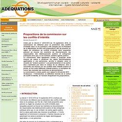 ADEQUATIONS 26/01/11 Propositions de la commission sur les conflits d'intérêts