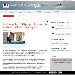 Culture-acte 2 : 80 propositions sur les contenus culturels numériques / A la une / Actualités