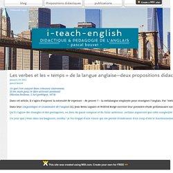 Les verbes et les « temps » de la langue anglaise—deux propositions didactiques concrètes