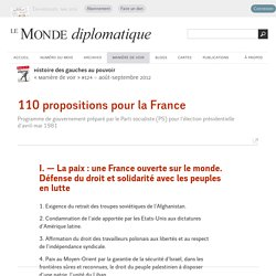 110 propositions pour la France (Le Monde diplomatique, août 2012)
