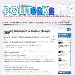 Liste des propositions de François Hollande #FH2012