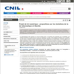 Projet de loi numérique : propositions sur les évolutions de la loi informatique et libertés - CNIL - Commission nationale de l'informatique et des libertés