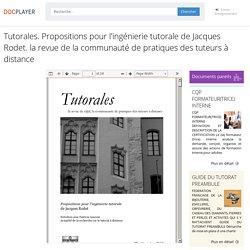 ⭐Tutorales. Propositions pour l'ingénierie tutorale de Jacques Rodet. la revue de la communauté de pratiques des tuteurs à distance