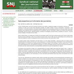 3. Sept propositions sur la formation des journalistes