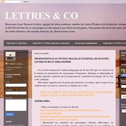 LETTRES & CO: quelques activités possibles, oral et écrit HLP