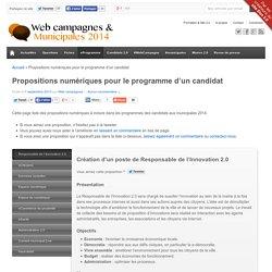 Propositions numériques pour le programme d'un candidat