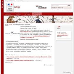 Propositions pédagogiques sur l'Encyclopédie-Lettres-Éduscol
