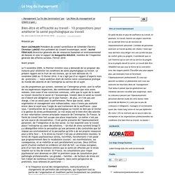 Bien-être et efficacité au travail – 10 propositions pour améliorer la santé psychologique au travail - Le blog du management