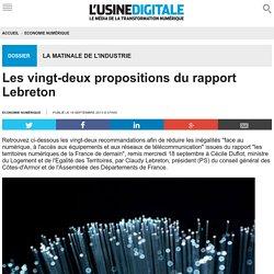 Les vingt-deux propositions du rapport Lebreton