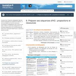 8. Préparer ses séquences d'HG : propositions et ressources