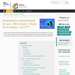 Propositions subordonnées en que - Mini-projet « Étude de la langue » en 3ème