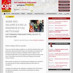 Guide des salarié-e-s de la propreté et du nettoyage - CGT Finances Publiques - Section de Paris
