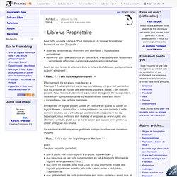 Libre vs Propriétaire - A propos du site