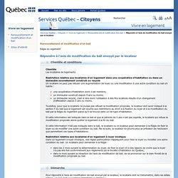 Aviser le propriétaire du refus de renouveler ou de modifier un bail : Services Québec – Citoyens