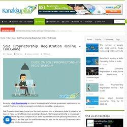 Sole Proprietorship Registration Online - Full Guide
