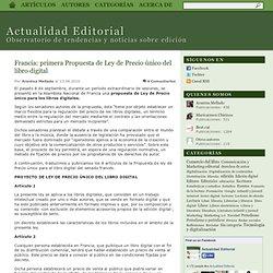 Blog de Ediciona » Blog Archive » Francia: primera Propuesta de Ley de Precio único del libro digital