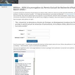 Pétition : NON à la prorogation du Permis Exclusif de Recherche d'Hydrocarbures du Bassin d'Alès !