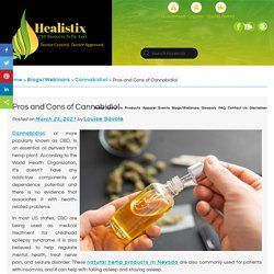 Pros and Cons of Cannabidiol