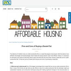 Pros and Cons of Buying a Resale Flat