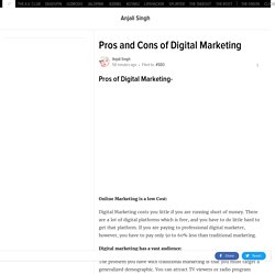 Pros and Cons of Digital Marketing