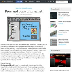 Pros and cons of internet