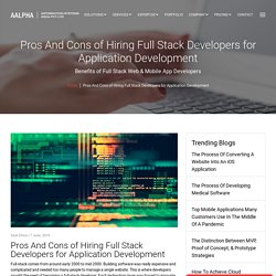 Pros And Cons of Hiring Full Stack Developers for Application Development