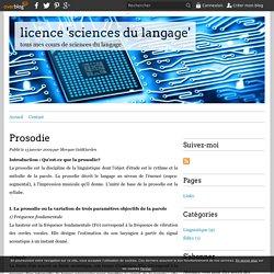 Prosodie - licence 'sciences du langage'