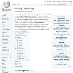 Prosody (linguistics)