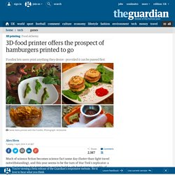 3D-food printer offers the prospect of hamburgers printed to go