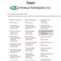 Prospect Magazine World Thinkers Poll 2015