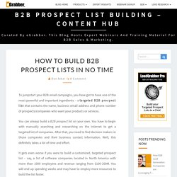 How to Build B2B Prospect lists in no time