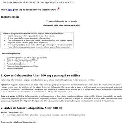 PROSPECTO GABAPENTINA ALTER 300 mg CAPSULAS DURAS EFG