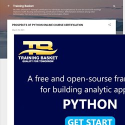 PROSPECTS OF PYTHON ONLINE COURSE CERTIFICATION