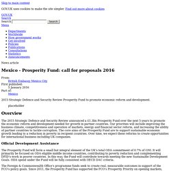 Mexico - Prosperity Fund: call for proposals 2016 - News articles